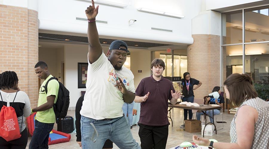 Students playing games at campus carnival